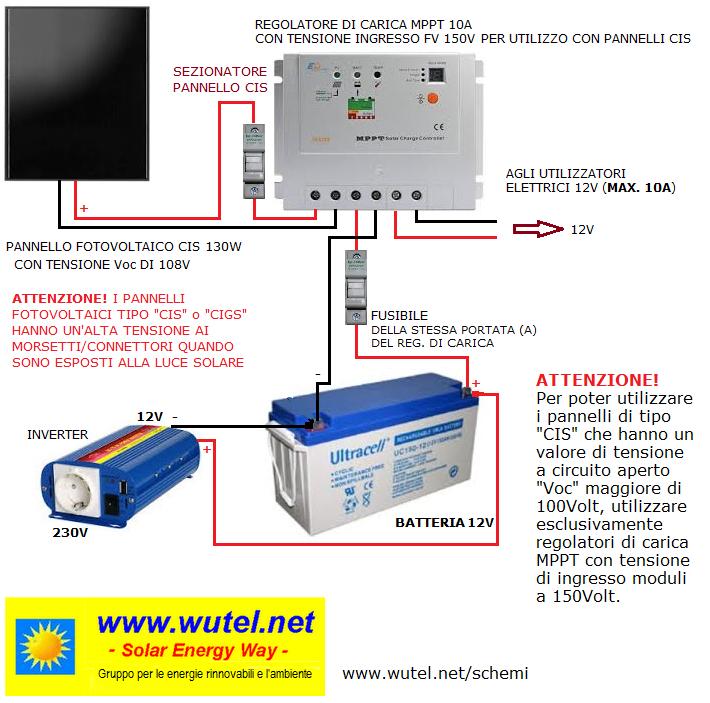 Schema Collegamento Impianto Fotovoltaico : Wutel schemi elettrici per fv v
