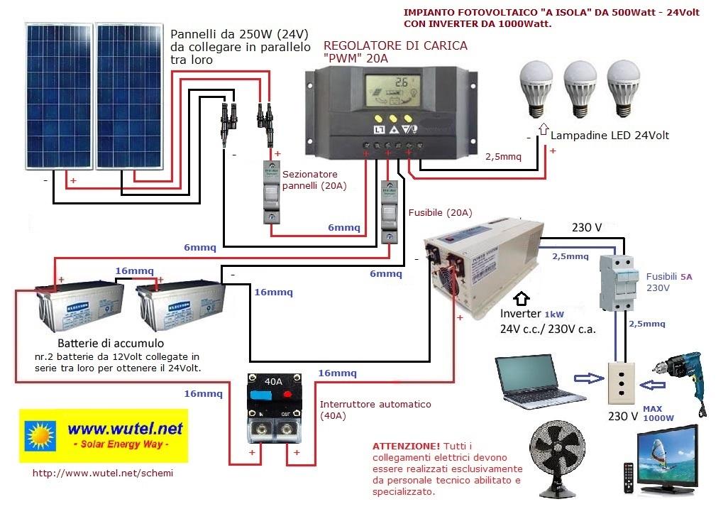 Schema Cablaggio Pannelli Fotovoltaici : Wutel schemi elettrici fv a volt