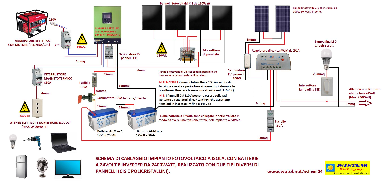 Schemi Elettrici Per Fotovoltaico : Wutel schemi elettrici fv a volt