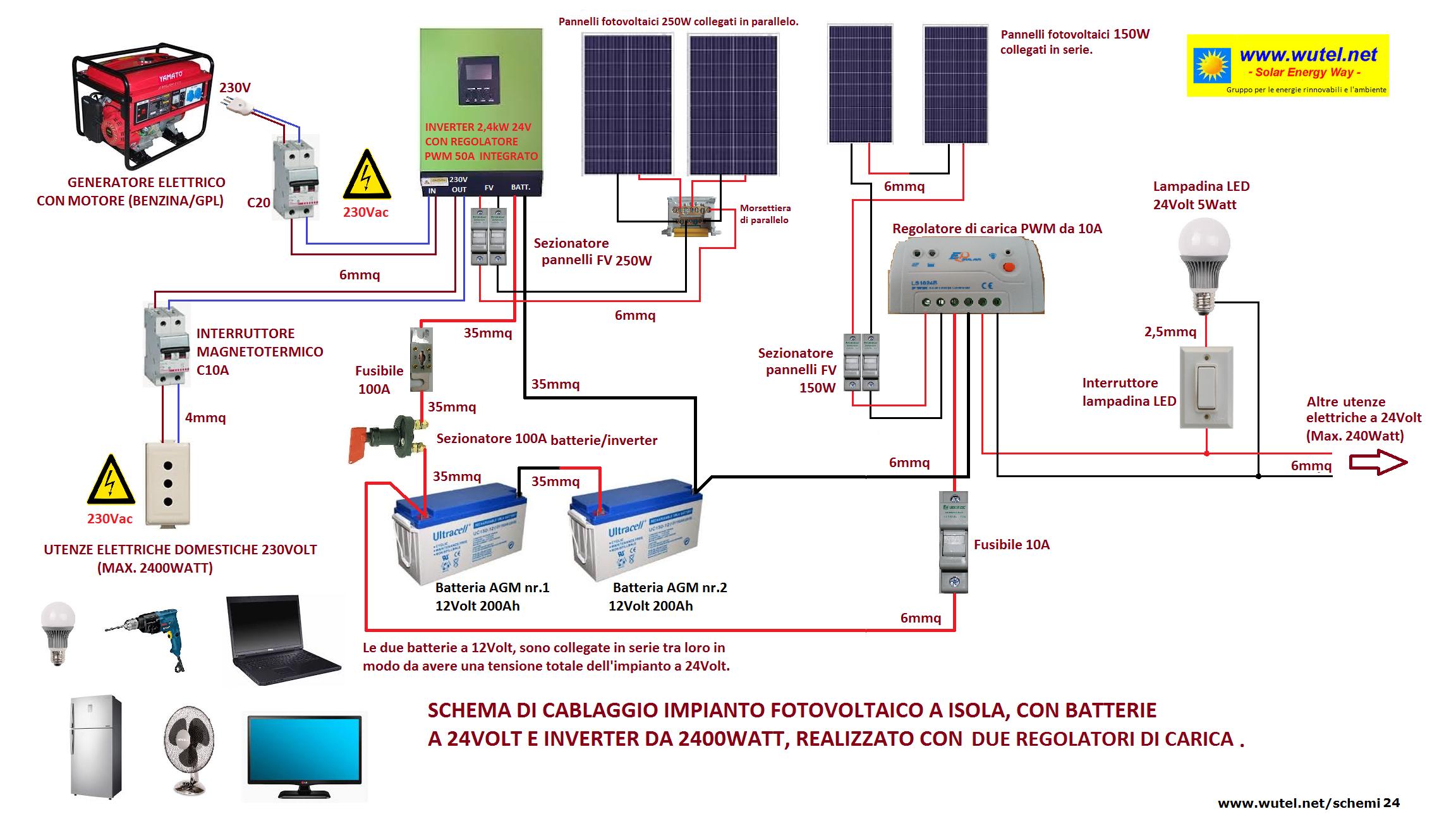 Schema Collegamento Impianto Fotovoltaico : Wutel schemi elettrici fv a volt
