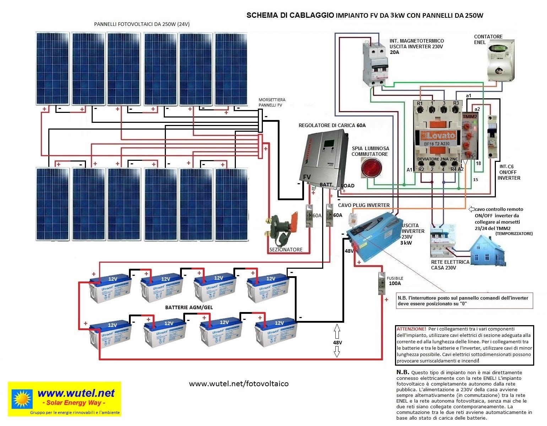 Schema Cablaggio Rete : Www.wutel.net schemi elettrici per impianti fv a 48 volt